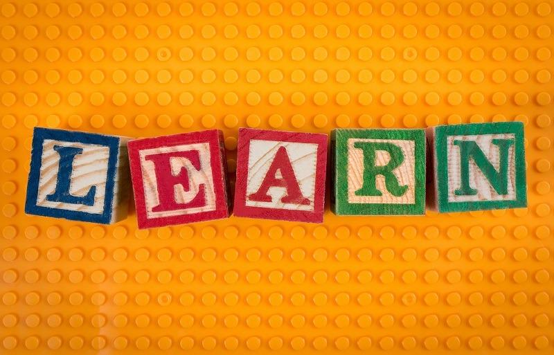 Blocks spelling the word learn