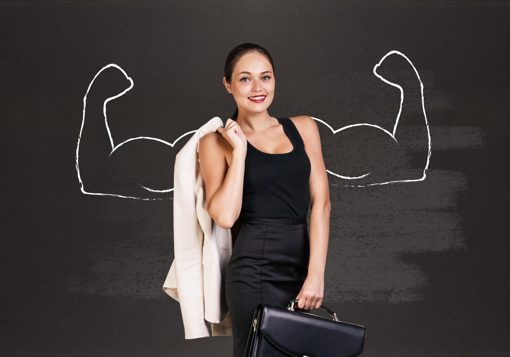 Business woman with drawn flexing arms