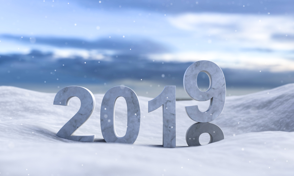 illustration 2019 New Year in the snow