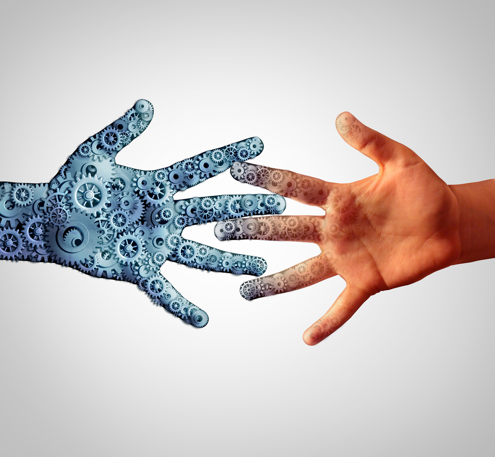 Merging technology man and machine coming together